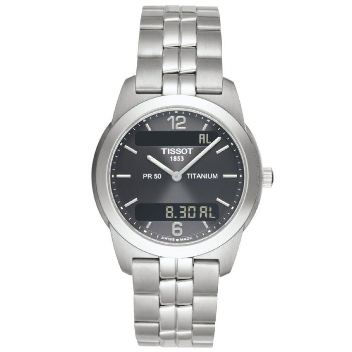 gents tissot pr50 seven alarm chronograph watch t34748762 rh watchshop com tissot 1853 pr50 titanium manual Titanium Watches Men Tissot