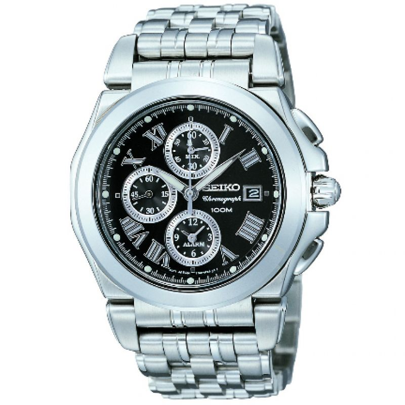 Mens Seiko Alarm Chronograph Watch SNA525P1
