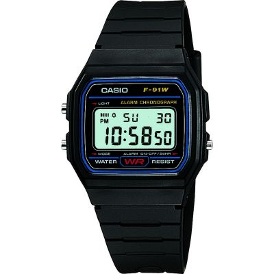 Casio F91W Alarm Chronograph Watch Black F-91W-1XY