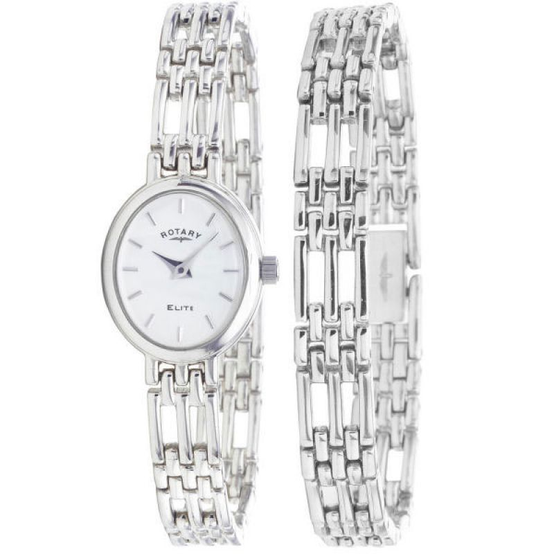 Ladies Rotary Bracelet Set Silver Watch LB20061/BR/02