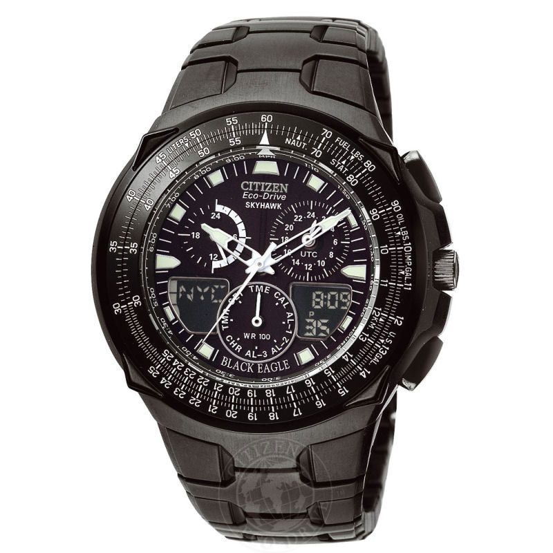 Mens Citizen Skyhawk Black Eagle Alarm Chronograph Watch JR3155-54E