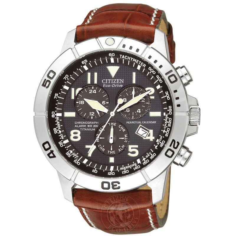 Mens Citizen Perpetual Calendar Titanium Alarm Chronograph Watch