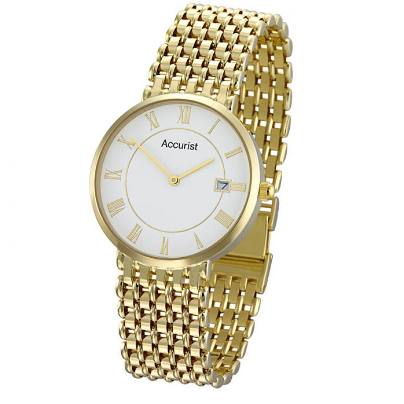 Mens Accurist 9ct Gold Watch GD1461