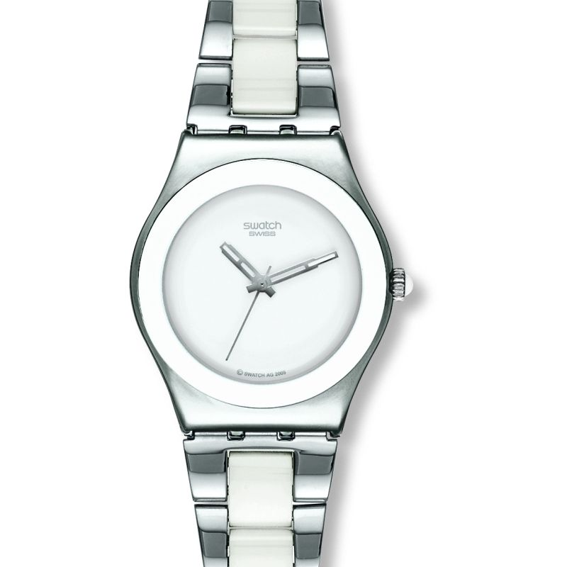 Ladies Swatch White Ceramic Watch YLS141G