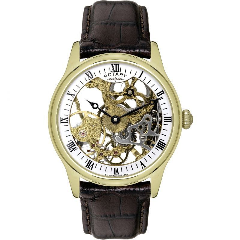 Mens Rotary Vintage Skeleton Mechanical Watch GS02520/03