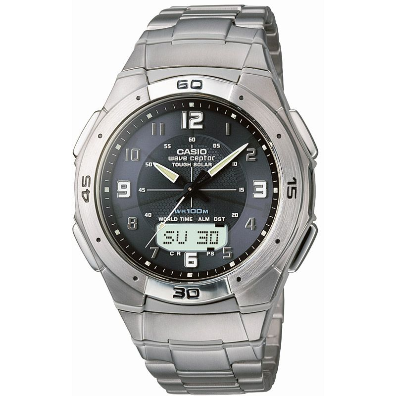 Mens Casio Wave Ceptor Titanium Alarm Chronograph Watch WVA-470TDE-1AVEF