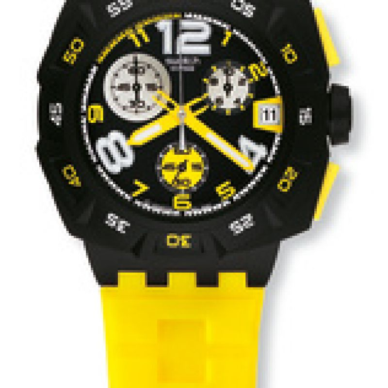 Mens Swatch Yellow Head Chronograph Watch SUIB401
