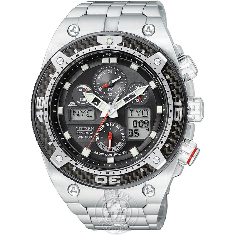 Mens Citizen Promaster Carbon Alarm Chronograph Radio Controlled Watch JY0075-54E