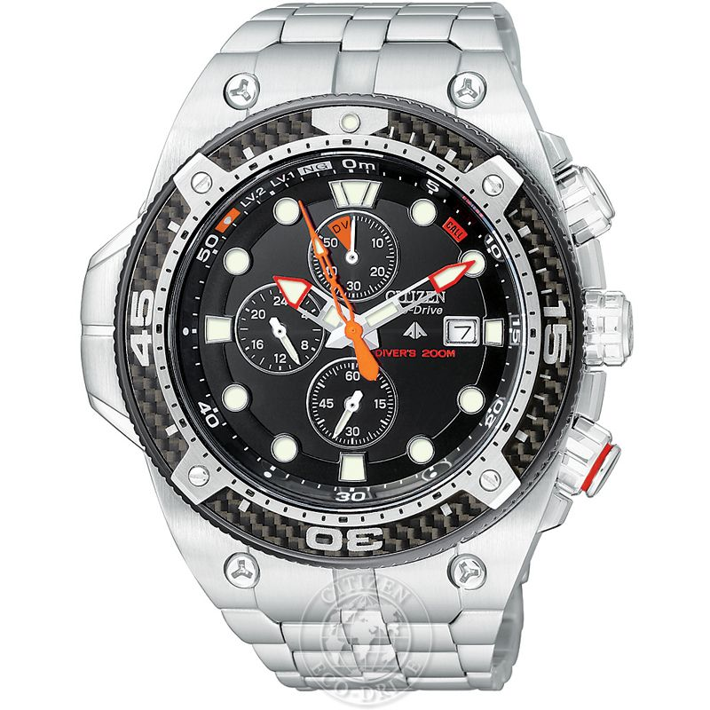 Mens Citizen Promaster Carbon Chronograph Watch BJ2105-51E