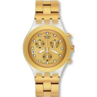 Unisex Swatch Full-Blooded Gold Chronograph Watch SVCK4032G