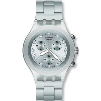 Mens Swatch Full-Blooded Silver Chronograph Watch SVCK4038G