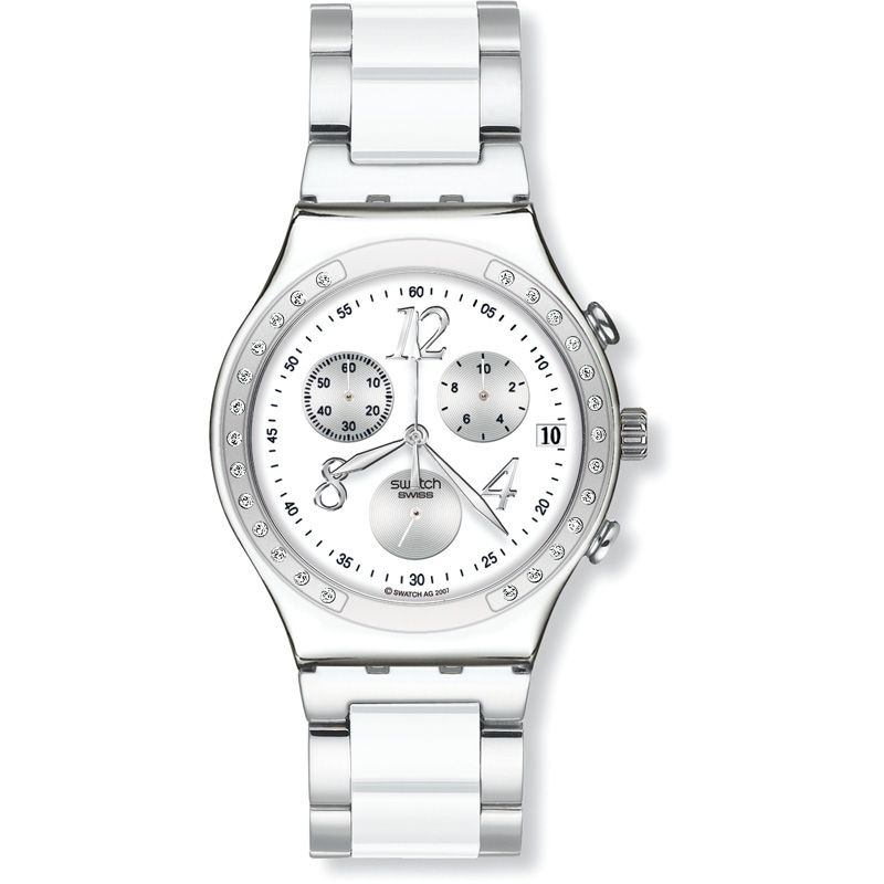 Unisex Swatch Dreamwhite Chronograph Watch YCS511G