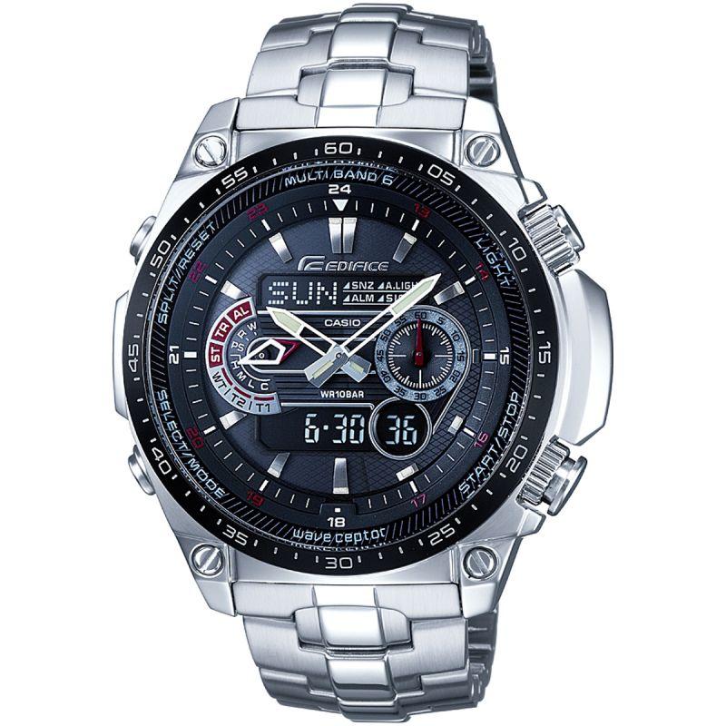Mens Casio Edifice Waveceptor Alarm Chronograph Radio Controlled Solar Powered Watch
