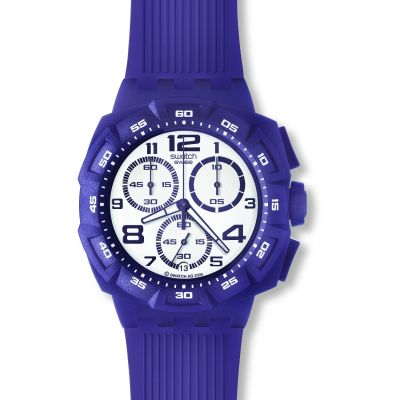 Mens Swatch Purple Funk Chronograph Watch SUIV400