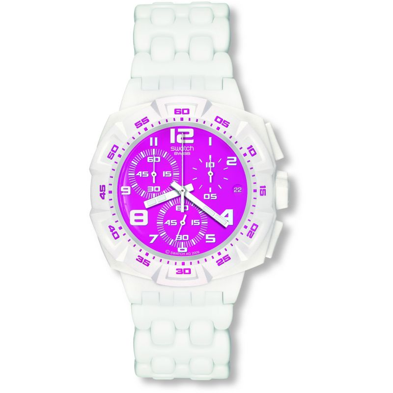 Mens Swatch Pink Purity Chronograph Watch SUIW407