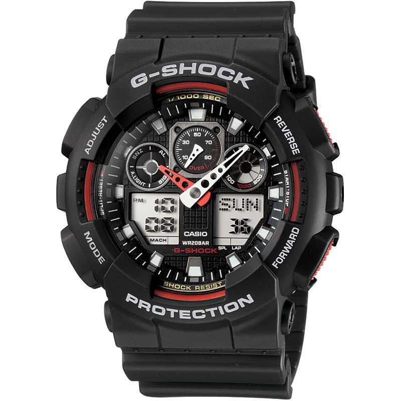 Mens Casio G-Shock Alarm Chronograph Watch GA-100-1A4ER