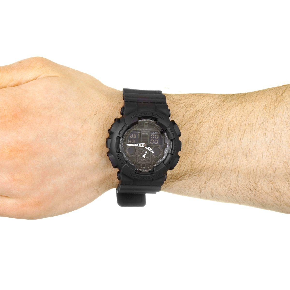 hommes casio g shock alarme chronographe montre ga 100 1a1er. Black Bedroom Furniture Sets. Home Design Ideas