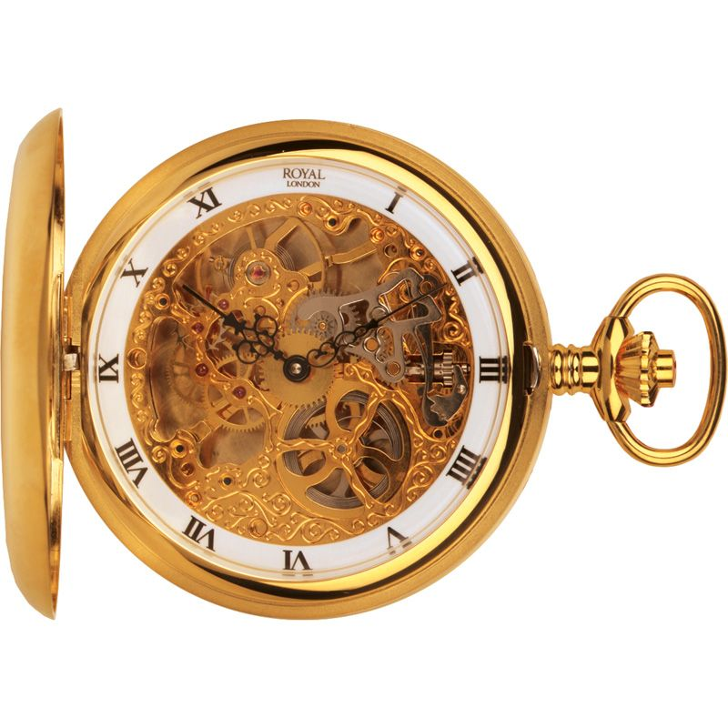 Royal London Full Hunter Pocket Skeleton Mechanical Watch 90016-02