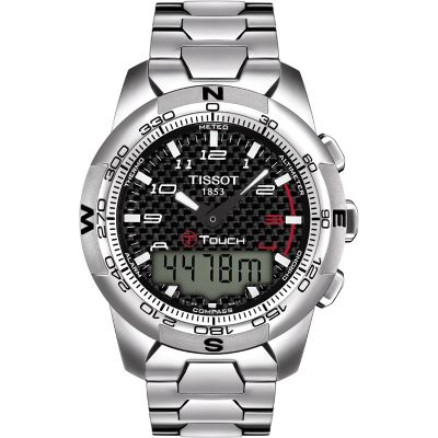 Mens Tissot T-Touch II Titanium Alarm Chronograph Watch T0474204420700