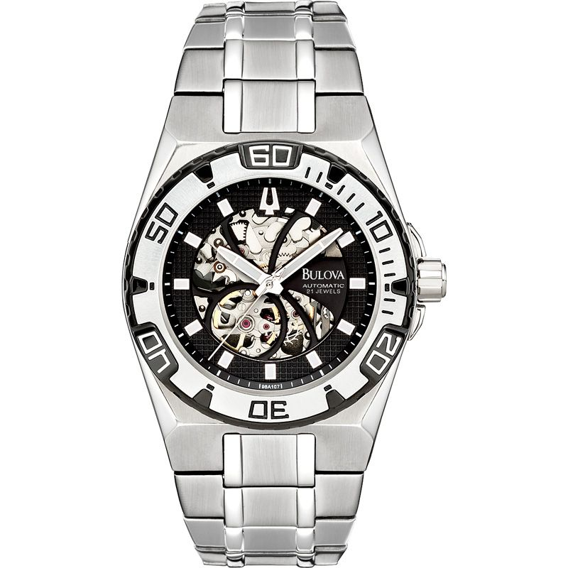 Mens Bulova BVA Series 505 Skeleton Automatic Watch 98A107