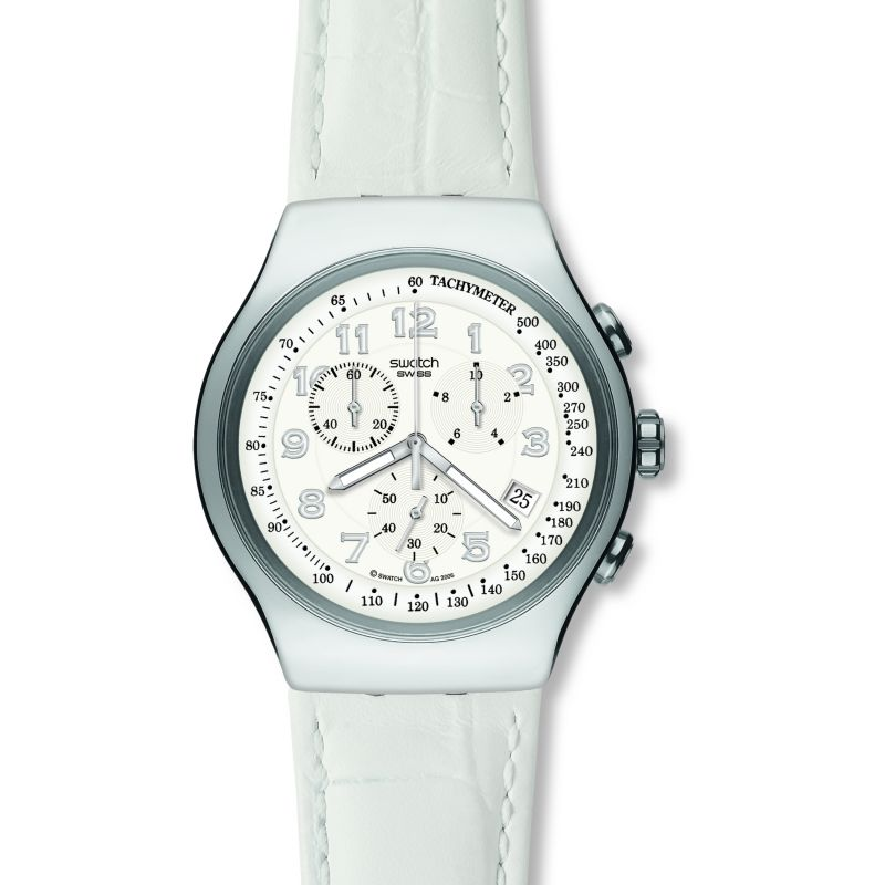Ladies Swatch Your Turn White Chronograph Watch YOS439
