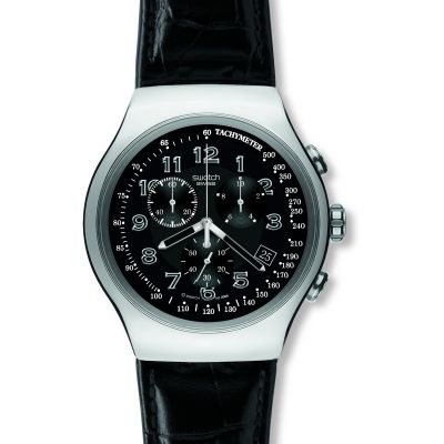 Mens Swatch Your Turn Black Chronograph Watch YOS440