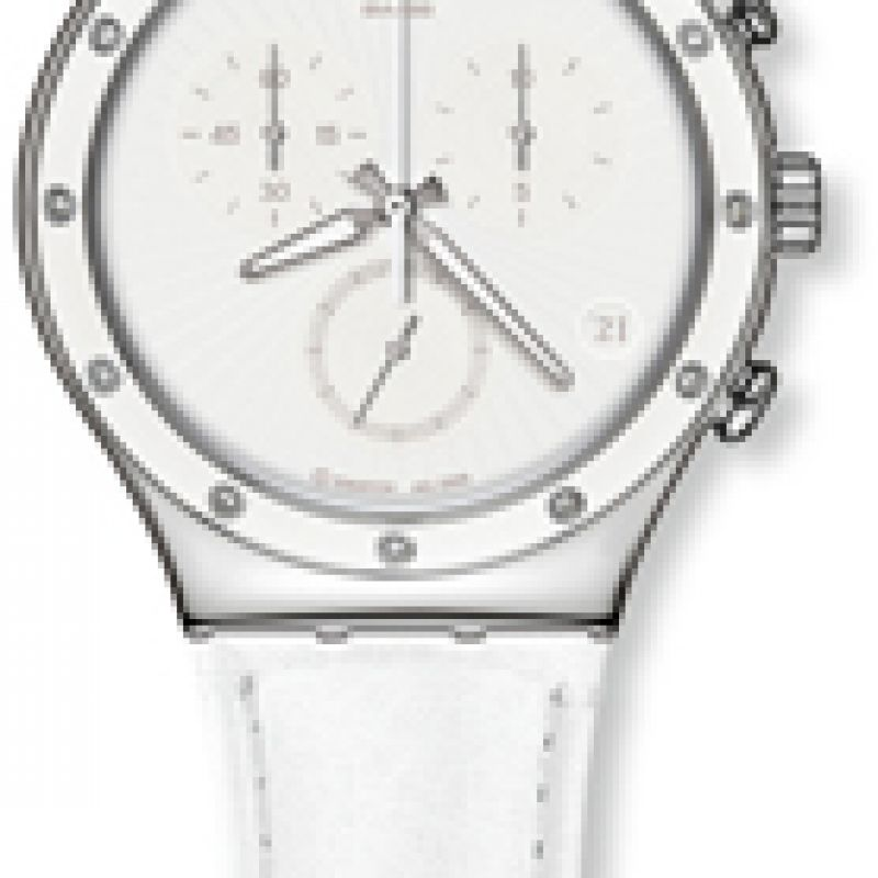 Ladies Swatch White Sun Chronograph Watch YCS535