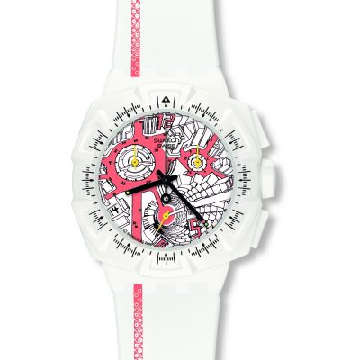 Swatch Chrono Plastic Street Map Flash Herrenchronograph in Weiß SUIW411