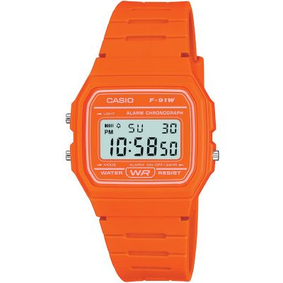 Casio Classic Unisexkronograf Orange F-91WC-4A2EF