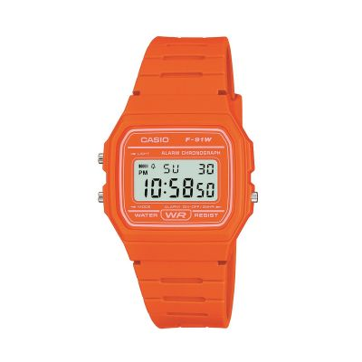 Casio Classic Unisexchronograph in Orange F-91WC-4A2EF