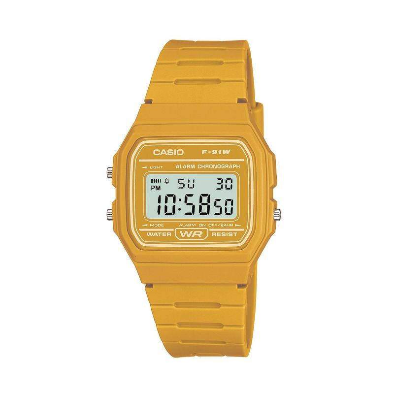 Casio Classic F-19W Collection Yellow Alarm Chronograph Watch F-91WC-9AEF