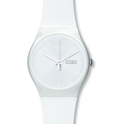 Swatch Originals New Gent White Rebel Unisexuhr in Weiß SUOW701
