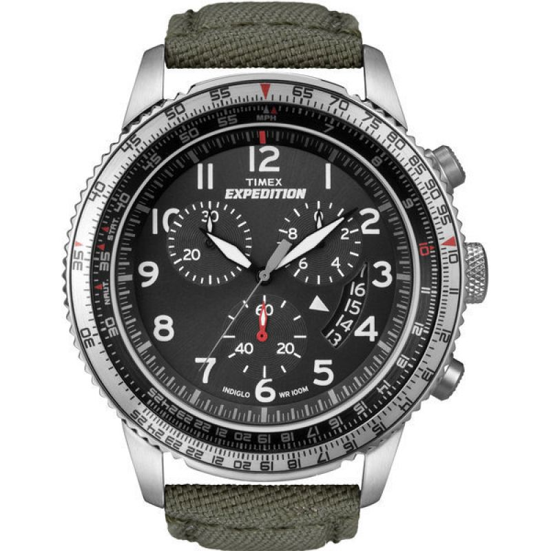 Mens Timex Indiglo Expedition Aviator Chronograph Watch T49823