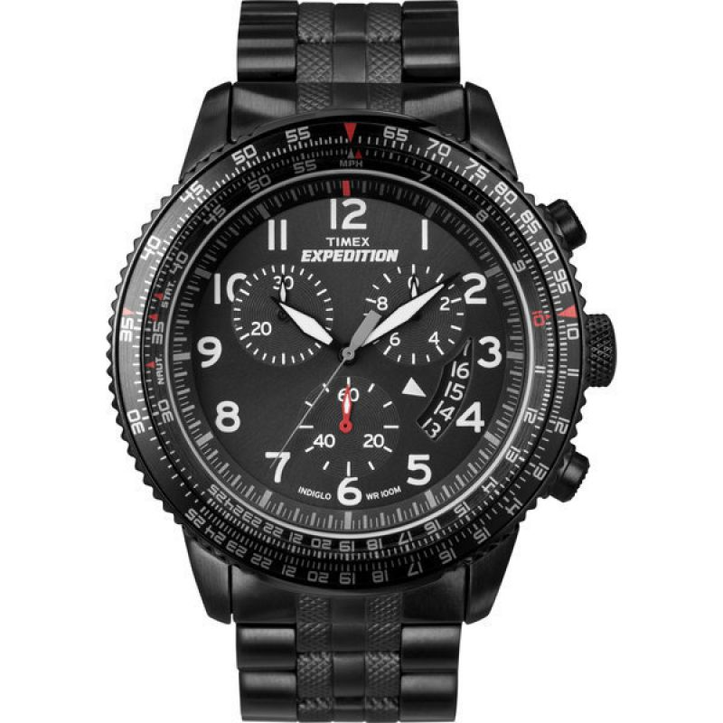 Mens Timex Indiglo Expedition Aviator Chronograph Watch T49825