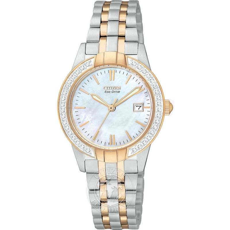 Ladies Citizen Eco-drive Silhouette Crystal Stainless Steel Watch EW1686-59D