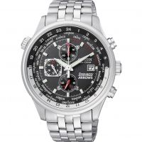 Mens Citizen Eco-drive Red Arrows World Time Chronograph Stainless Steel Watch CA0080-54E