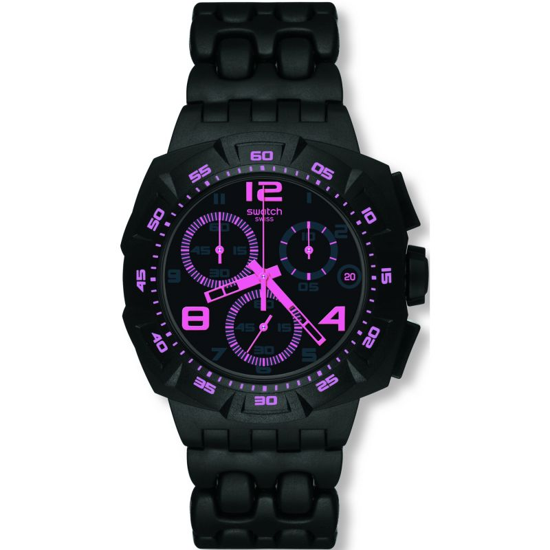 Mens Swatch Black Dunes Pink Chronograph Watch SUIB410