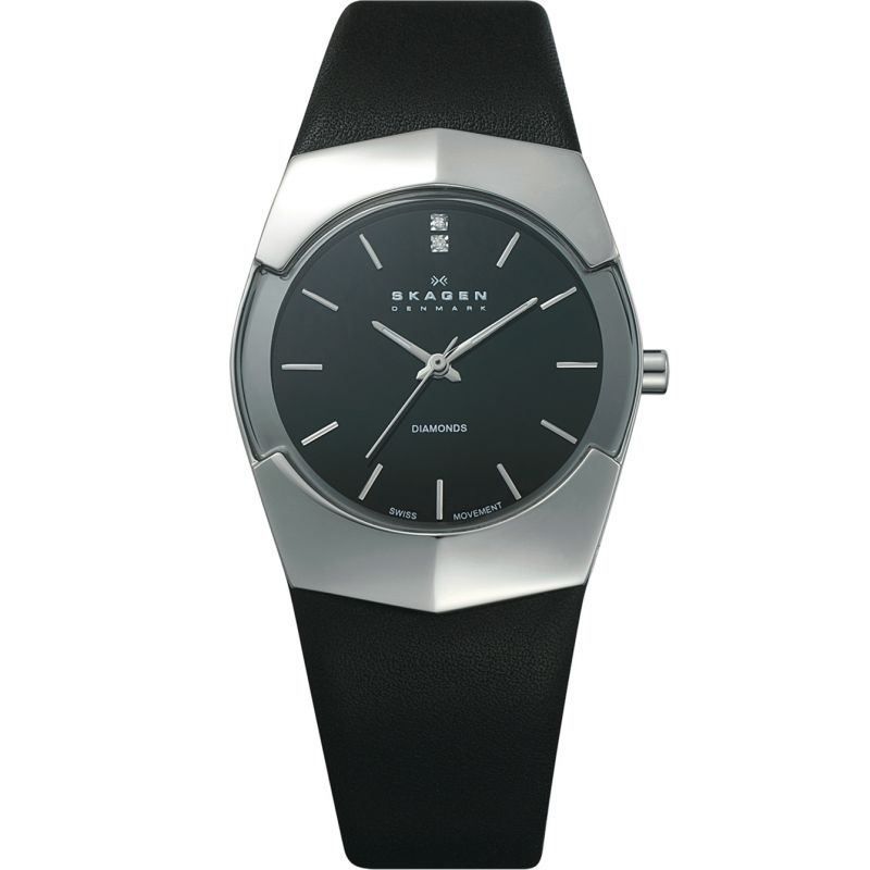 Ladies Skagen Black Label Executive Diamond Watch 580SSLB