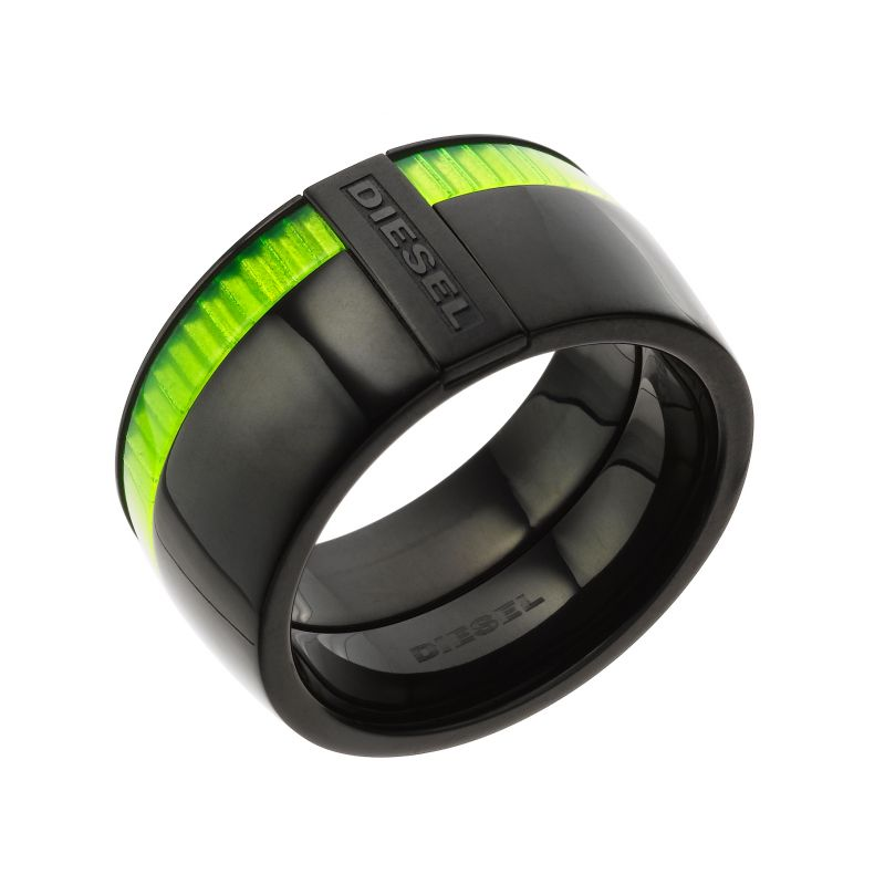 Mens Diesel Black Ion-plated Steel Ring DX0316040515