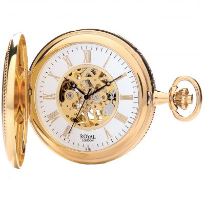 Royal London Half Hunter Pocket Skeleton Mechanical Watch 90029-02