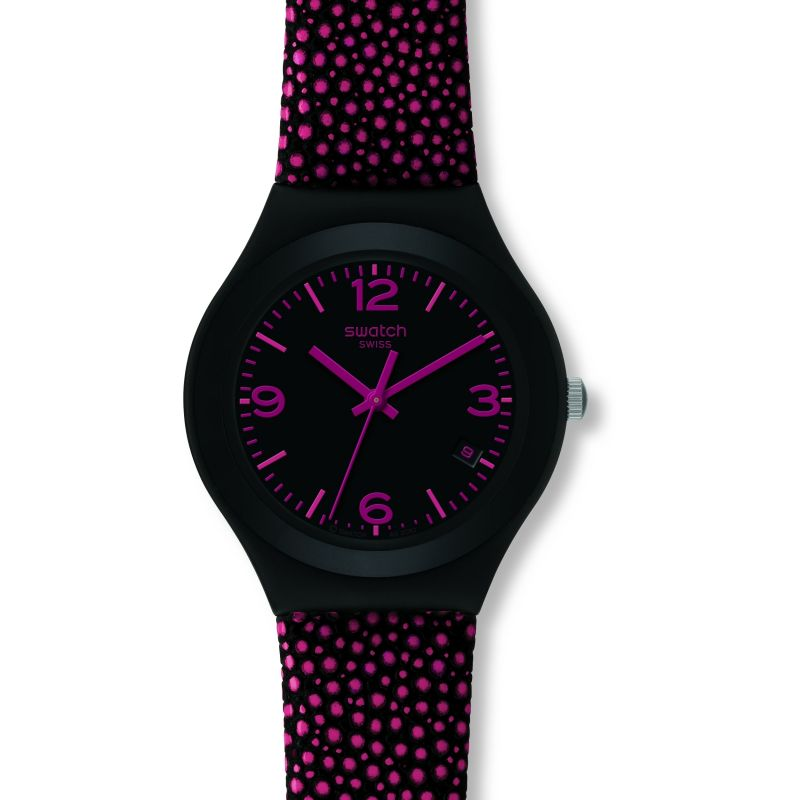 Ladies Swatch Pink Drops Watch YGB4005