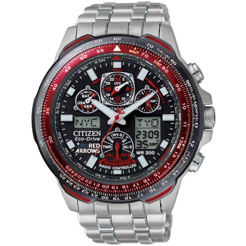 Mens Citizen Skyhawk A-T Red Arrows Titanium Alarm Chronograph Radio Controlled Watch