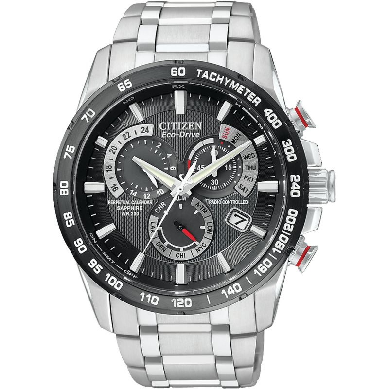 Mens Citizen Eco-drive Chrono Perpetual A-T Radio Controlled Alarm Chronograph Stainless Steel Watch AT4008-51E