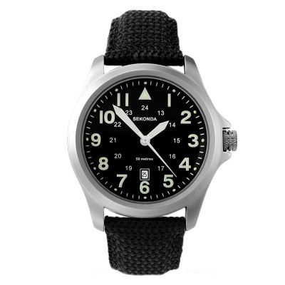 Sekonda Aviator Herrenuhr in Schwarz 3347
