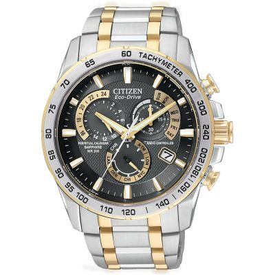 Mens Citizen Eco-drive Chrono Perpetual A-T Radio Controlled Alarm Chronograph Two-tone steel/gold plate Watch AT4004-52E