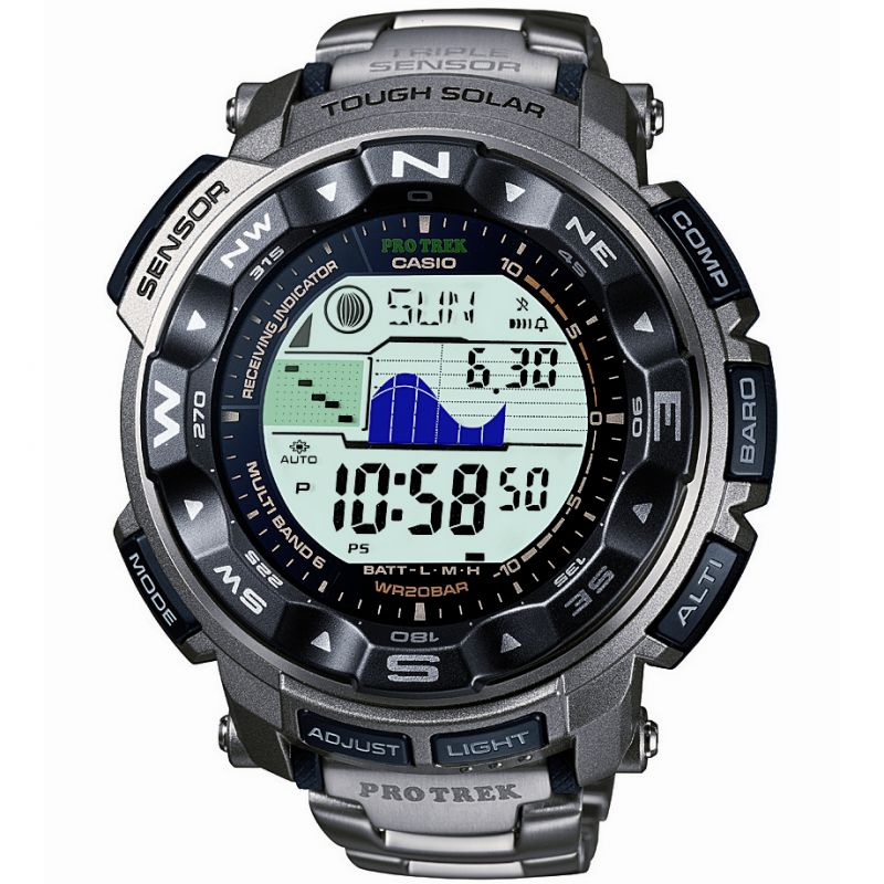 Mens Casio Pro Trek Titanium Alarm Chronograph Radio Controlled Watch
