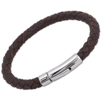 Unique Unisex Darkbrown Leather Bracelet Rostfritt stål A40DB/21CM