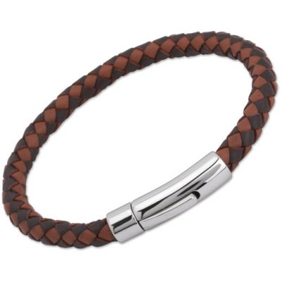 Unique & Co Stainless Steel Dark Brown + Light Brown Leather Bracelet A40MB/21CM