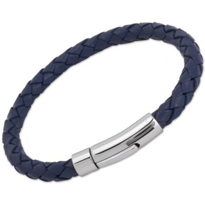 Unique Unisex Blue Leather Bracelet Rostfritt stål A40BLUE/21CM