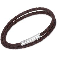 Unique & Co Stainless Steel Dark Brown Leather Bracelet B62DB/21CM